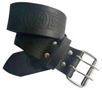 Black Saltire Thistle Highland Leather Kilt Belt and Buckle MG2 Antique