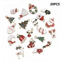 Xmas Christmas Enamel Charms Pendants Bracelet Key Ring Santa Tree Snowman Gift