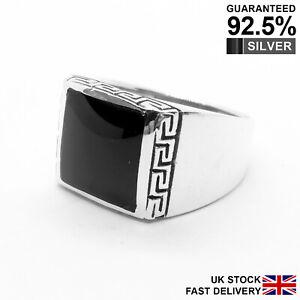 925 Silver Black Onyx Gemstone Greek Key Signet Ring ✔️Quality ✔️Comfort ✔️UK