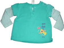 C & A tolles Sweat Shirt Gr. 68 grün mit kleinem Vogel Motiv !!