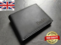 Personalised Engraved Black Leather Wallet Men Christmas Birthday Gift Coin RFID