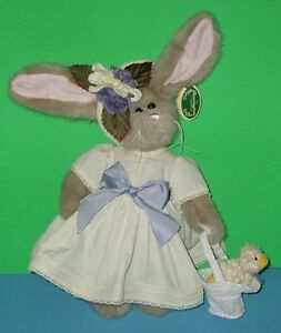 "Bearington Collection Bunny Rabbit Tulip n Ducky Yellow Dress Plush Stuffed 14"""