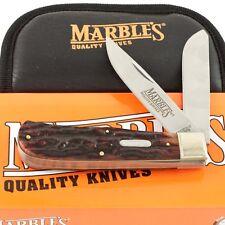 MARBLES Stag Bone JUMBO TRAPPER Pocket Knife New mr117 Handles Folding 2 Blade
