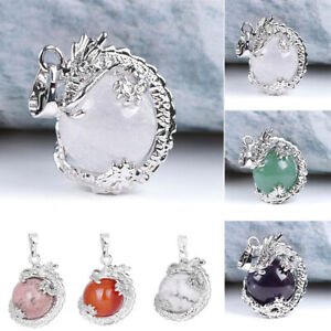 Natural Gemstone Crystal Dragon Ball Pendant Stone Necklace Earring Making