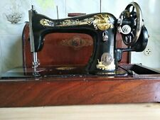 Vintage Portable Sewing Machine SINGER Hand Crank Operated Rare Original & Case