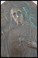 † 19TH SACRED HEART of JESUS CHRIST SIGNED BRONZE PLAQUE RELIQUARY FRANCE †