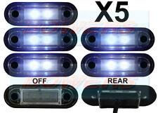 5 x 12V/24V FLUSH FIT WHITE FRONT LED MARKER LAMPS / LIGHTS TRUCK VAN KELSA BAR
