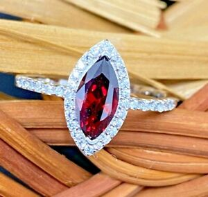 GEMS & GIFTS 925 SILVER SIMULATED DIAMOND CREATED RED MARQUISE GARNET RUBY RING
