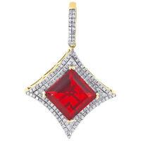"10K Yellow Gold Rhombus Shape Diamond & Red Gemstone Pendant 1.20"" Charm 0.30 Ct"