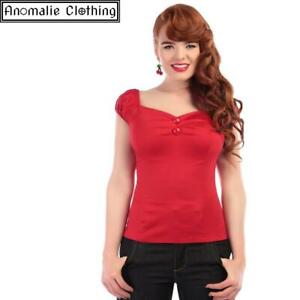 Collectif Dolores Top in Red - 1950s 1960s Retro Pinup Rockabilly Peasant Blouse