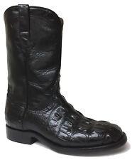Mens Black Genuine Alligator Skin Cowboy Western Boots Roper Size 8.5