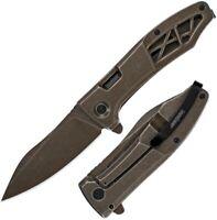 "Kershaw Boilermaker Folding Knife 3.25"" 8Cr13MoV Steel Blade Stainless Handle"