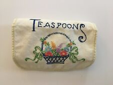 Vintage Embroidered Silver Flatware Teaspoons  Roll Up Storage Bag
