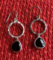 SILPADA W3291 STERLING SILVER DARK HALO BLACK AGATE DROP EARRINGS