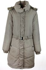 WOMEN LONG PUFFER PUFF CREAM ROUGED PADDED FUR TRIM BELT HOODED COAT SIZE 12