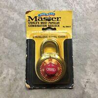 VINTAGE MASTER LOCK Made in USA Combination Gym Locker New No. 1500-D Padlock