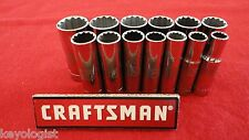 "CRAFTSMAN Socket Set 3/8"" drive MM METRIC 12pt DEEP 13pcs LASER ETCHED"
