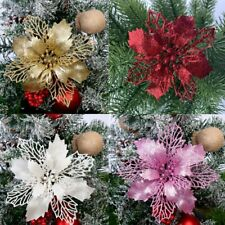 10X Christmas Poinsettia Glitter Flower Tree Hanging Xmas Party Tree Decoration