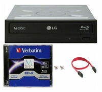 LG WH16NS40 16X Internal Blu-ray BDXL Burner +1pk 25GB M-DISC +SATA Cable+Screw