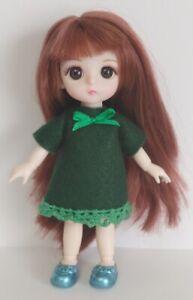 16cm BJD Doll Clothes - Green Felt DRESS Handmade 1/8 Fashion NO DOLL dolls4emma