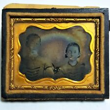 Antique Daguerreotype Photograph Brothers Matching Uniforms 1/9th Plate 1/2 Case