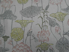 Zoffany Curtain Fabric  'Lotus Flower' Linden/Coral 3.4 METRES Town & Country