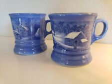 New listing Pair of blue Currier and Ives Mugs (Winter)
