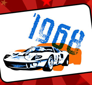 GT40 Ford GT Gulf Racing Tribute Vintage Style Racing T-Shirt 1968 LeMans