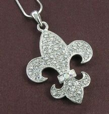 Fleur de Lis Lily Flower Clear Crystal Necklace Pendant