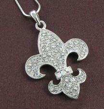 Fleur de Lis Lily Flower Clear Crystal Necklace Pendant