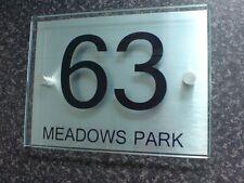 Modern House Number Sign Plaque Aluminium/Glass Effect
