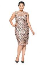 * NWT Tadashi Shoji Pink Illusion Sequin Paillette Embroidered Lace Sheath 16Q