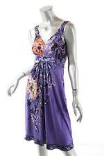 ELIE TAHARI Purple Multi 100% Silk Jersey Floral Empire Waist Dress  Sz S/P
