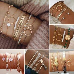 5Pcs/set Boho Gold Flower Beads Crystal Cuff Bracelet Set Beach Bangle Jewelry