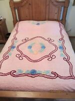 BEAUTIFUL VINTAGE PINK CHENILLE BEDSPREAD, 90x102, GREAT CONDITION