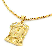 "Stainless Steel Gold Plated Big Jesus Medal Pendant 24"" Round Box Necklace Chain"