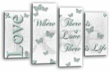 Love Quote Canvas Wall Art Picture Home Love Print Duck Egg White Split Panel