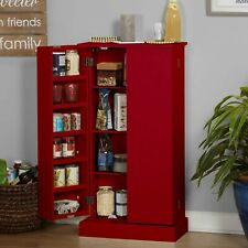 Red Wooden Kitchen Pantry Cabinet Storage Organizer Food Cupboard Shelves Door