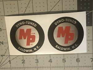 """Motion Products Chevrolet Round MP Decals On Chrome 2 1/2"""" Set 2"""