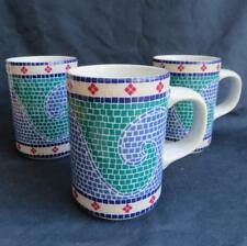 Set of 3 DANSK Waves Coffee Mugs Cup Mosaic Tile Print Summer Beach House Ocean