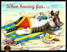 Adorable Kitten Cat Relaxing Beach Ocean Sunglasses - Birthday Greeting Card NEW