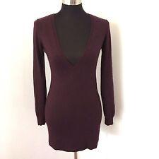 Ann Taylor LOFT Womens Sweater XS Tunic Deep Purple V-neck Angora Blend Pullover