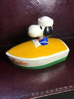 Rare Original Snoopy in a Boat Money box Very Good original Order Patina present