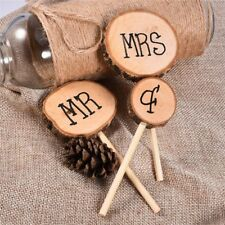 1Set Cute Mr & Mrs Wooden Cake Inserted Toppers Rustic Wedding Event Party Decor