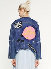 ZARA BLUE DENIM FRAYED JACKET WITH PATCH DETAIL AT THE BACK SIZE XS UK 6/8