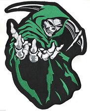 "HOODED GRIM REAPER SKULL LARGE 14""X12"" PATCH for BIKER LEATHER JACKET BACK Green"