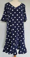 Preview Womens Size 12 Casual Blue Polka Dot Short Sleeve Frill Hem Shift Dress