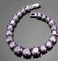 Purple Amethyst Large Tapered Gemstone Tennis Sterling Silver Bracelet Bangle
