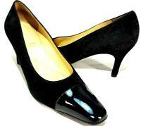Salvatore Ferragamo Cap Toe Suede & Patent Leather Pumps Women's Size US 6.5 C