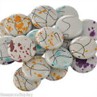 """20 PCs Acrylic Spacer Beads Round Flower Painting Mixed 27mm(1 1/8"""") Dia."""